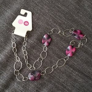 Purple Black and Silver Long Necklace